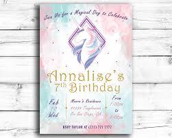 Print Birthday Invitation Girls Unicorn Printable Birthday Invitation