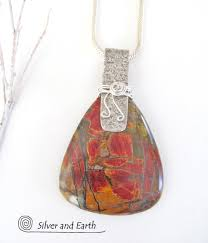 red creek jasper sterling silver necklace large stone pendant silver and earth