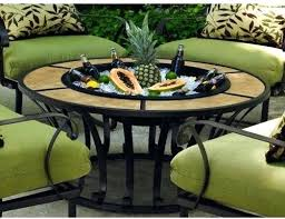 impressive round patio dining table with fire pit is there a center insert of metal to acadia 6 person sling set ta