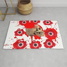 black red exploding blood poppies skull art rug