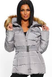 cute n cosy grey faux fur hooded belted puffer coat