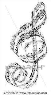Clip Art Of A Treble Clef Made From Beethovens Piano Music