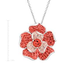 crystaluxe flower pendant with c rose swarovski crystals sterling silver