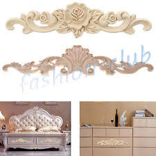 wood furniture appliques. 2Types Wood Carved Flower Onlay Unpainted Applique Frame Furniture Craft Decor Appliques K