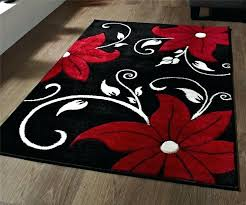 decoration black and red rug stunning fl flower pattern large heavy domestic white striped rugby