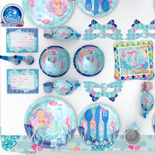 Deluxe Mermaid Party Decoration Pack Serves 16 Tablecloth Plates Napkins Cups Supplies