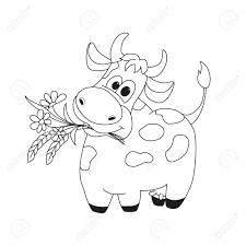 花とかわいい牛の概要図塗り絵の動物キャラクターの漫画の概要図子供のための素晴らしいカード