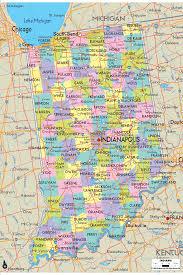 detailed political map of indiana  ezilon maps