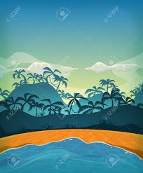 Illustration D Un Fond Tropical Plage De L Oc An D T De Dessin