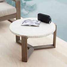 mosaic tiled outdoor coffee table white marble weathered wood west elm