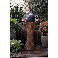 Amazoncom  ASC Solar Powered Rattan Pillar And Bowls Water Solar Water Features With Lights