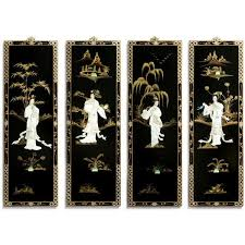 sweet oriental wall decor decoration ideas black lacquer plaques with mother pearl asian sculptures uk fans