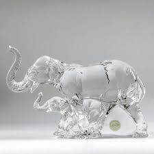 glass elephant figurine lead crystal elephant figurine pink glass elephant figurine glass elephant