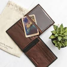 pre personalised man s leather wallet and wooden photo card seconds