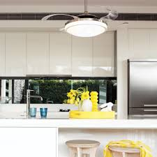 Retractable Kitchen Light Fanaway Evo2 Endure Brushed Chrome Ceiling Fan With Retractable