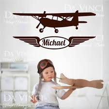 <b>Airplane Aircraft Planes</b> Wall Room <b>Custom</b> Name Vinyl <b>Wall Decal</b> ...