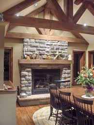 Open Stone Fireplace Modern Living Room With Stone Fireplace White Wooden Laminate Arm