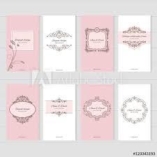 Vintage Card Templates Set For Wedding Invitations Elegant