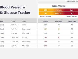 Blood Pressure And Glucose Tracker My Excel Templates