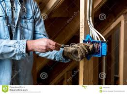 Construction Electrician Electrician Works On New Home Wiring Box Stock Image Image