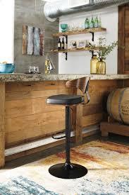 Ashley Furniture D120 330 Black Finish Tall Swivel Barstool Dark