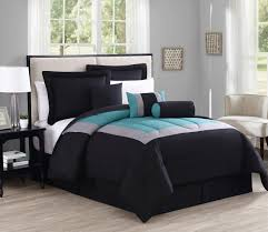 11 piece queen rosslyn black teal bed in a bag set
