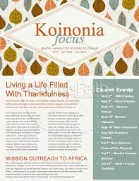 A Song Of Thanksgiving Christian Newsletter Template