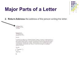 Major Parts of a Letter 2 Return Address the address of the person writing the letter