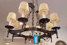 a french circular wrought iron ceiling light