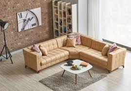 modern furniture and decor. Miranda L Shaped Tufted Corner Sectional Sofa | Beige Tan Bed Modern Furniture And Decor