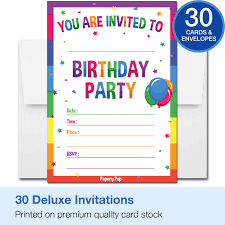 Birthday Invitation Party 30 Birthday Invitations With Envelopes 30 Pack Kids Birthday Party Invitations For Boys Or Girls Rainbow