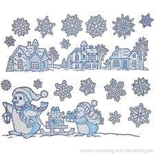 4 Bögen Fensterbilder Weihnachten Glitzer Schneeflocken
