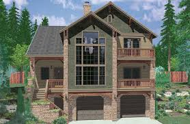 image of house plans sloping lot walkout basement 3d