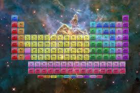 118 element color periodic table stars and nebula
