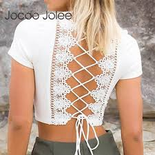 Backless Design Us 4 86 60 Off Jocoo Jolee Sexy Backless Design Women Lace Shirts Deep V Neck Tops Lace Up Design Women Summer Beach Wearings 2018 New Arrivals In