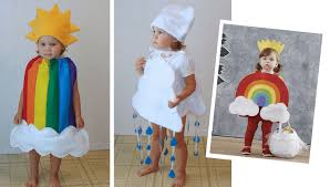 creative costumes for siblings rain cloud and rainbow