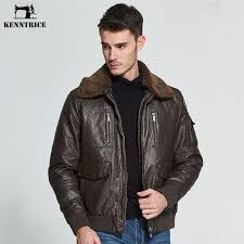 whole kenntrice leather jacket men brand men s pilot leather jackets winter coat faux sheepskin er jacket faux fur collar coats