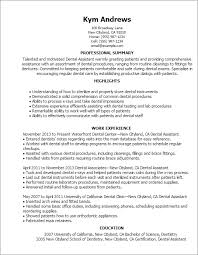 dental assistant resume profile professional summary work experience