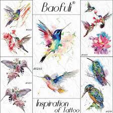Baofuli акварельная колибри муха временная татуировка наклейка