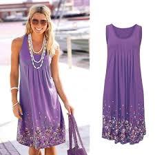 Sleeveless Floral Print Loose <b>Dress</b> Fashion Six Colors Casual ...
