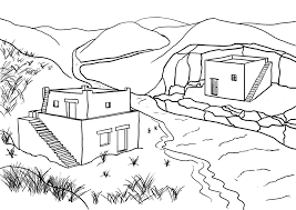 Small Picture Sunday School Coloring Page Parable The Wise And Foolish Builders