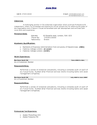 Personal Banker Resume Objective Resume For Your Job Application