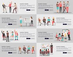 Business Training Seminars Set Of Posters Vector