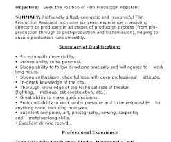 Film Production Assistant Resume News Production Assistant Resume
