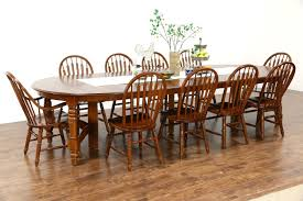 oak vintage dining set 54 table 8 leaves 10 chairs richardson bros wi