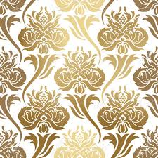 Gold Damask Background Seamless Vector Pattern Abstract Illustration With Elements