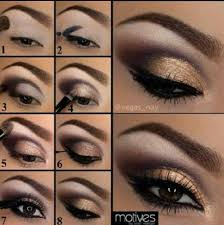 eye shadow makeup tutorial gold smokey look evening party night out
