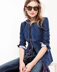 Patterned Blazer Womens Gorgeous JCrew Women's Regent Blazer In Small Polkadot Linen Perfect Shirt