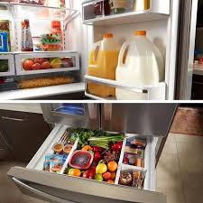 Marvelous French Door Refrigerator With Wide Adjustable Shelving And A Pullout Freezer  Drawer.