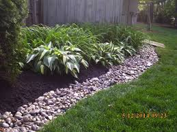 Landscape Job# 16 - Mulch Bed w/ River Rock Bank - Spring Cleanup,
